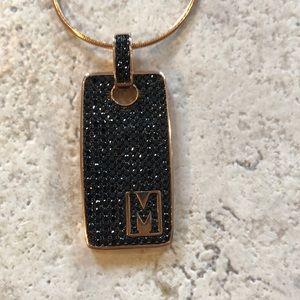 Bronzo Italia initial M black spinel necklace nwt